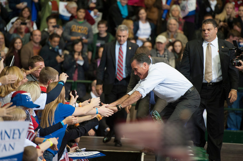 Republican Presidential Candidate Mitt Romney greets the crowd after he spoke at a campaign rally at the Patriot Center at Fairfax campus. Photo by Alexis Glenn/Creative Services/George Mason University