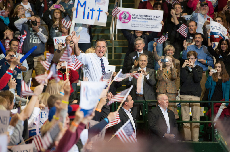 Republican Presidential Candidate Mitt Romney arrives to speak at a campaign rally at the Patriot Center at Fairfax campus. Photo by Alexis Glenn/Creative Services/George Mason University