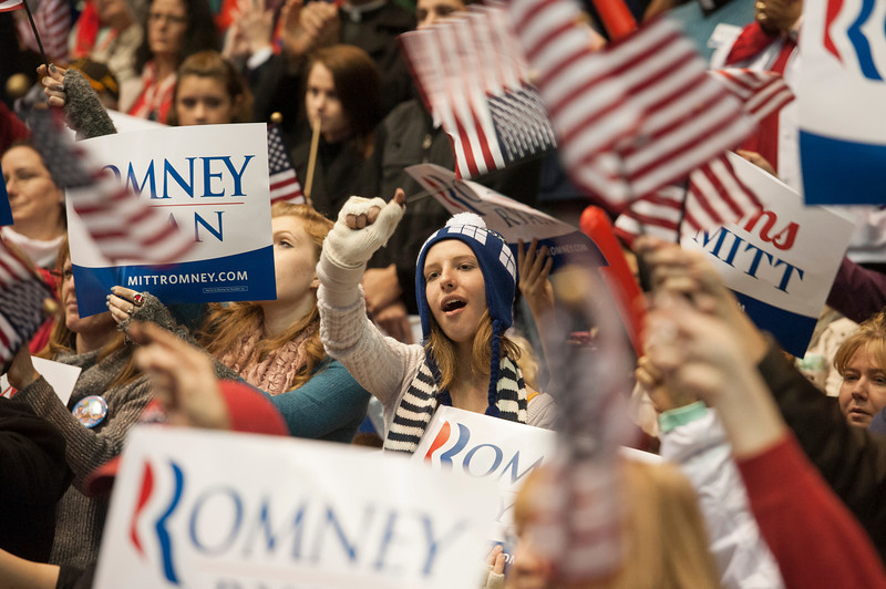 The crowd cheers as Republican Presidential Candidate Mitt Romney speaks at a campaign rally at the Patriot Center at Fairfax campus. Photo by Alexis Glenn/Creative Services/George Mason University