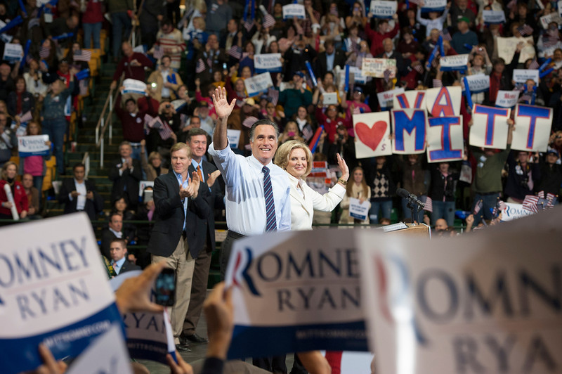 Republican Presidential Candidate Mitt Romney and Ann Romney wave after speaking at a campaign rally at the Patriot Center at Fairfax campus. Photo by Alexis Glenn/Creative Services/George Mason University