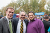 (L to R) Alex Williams, Dr. Ángel Cabrera, and Steven Scott wait to see U.S. President Barack Obama speak at a campaign rally at Fairfax campus. Photo by Alexis Glenn/Creative Services/George Mason University