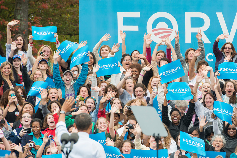 The crowd cheers after U.S. President Barack Obama spoke at a campaign rally at Fairfax campus. Photo by Alexis Glenn/Creative Services/George Mason University