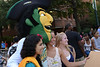 The Patriot poses with Mason students during Welcome Week. Photo by Evan Cantwell/Creative Services/George Mason University