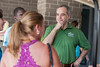President Ángel Cabrera greets Freshman students and parents during Freshman move-in day in the Rappahannock neighborhood at Fairfax campus. Photo by Alexis Glenn/Creative Services/George Mason University