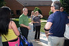 President Ángel Cabrera greets Freshman students and parents during Freshman move-in day in the Shenandoah neighborhood at Fairfax campus. Photo by Alexis Glenn/Creative Services/George Mason University