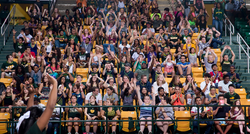Over 2000 students celebrate at the Patriot Center during Patriot Premiere. Photo by Craig Bisacre/Creative Services/George Mason University