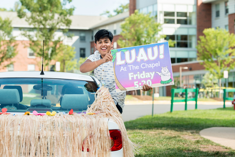 Getting ready for the Luau.  Photo by:  Ron Aira/Creative Services/George Mason University