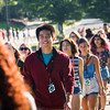 Students walking to the new student convocation