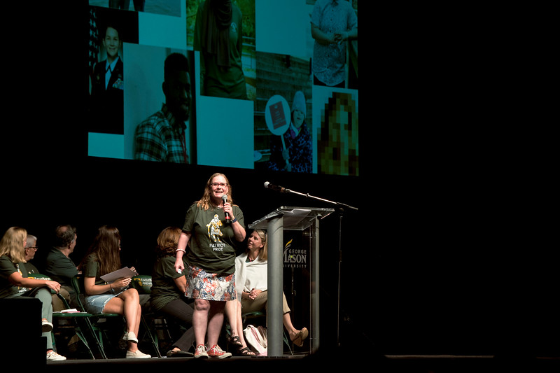 Dr. Angela Hattery gives the keynote address at New Student Convocation 2018. Photo by Bethany Camp/Creative Services/George Mason University