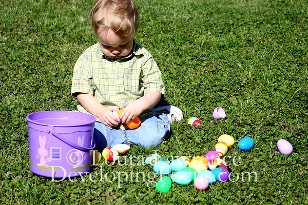 Toddler Boy with Easter Eggs 2