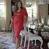 60- red dress standing
