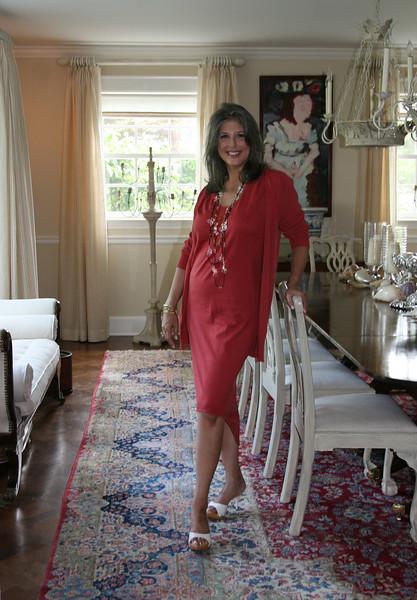 73- red dress standing