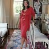 74-- red dress standing
