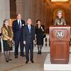 B_6949--Carol Conover, Yoo Soon-taek, Mike Hearn, UN Secretary General Ban Ki-moon, Lulu Wang, Emily Rafferty at the podium