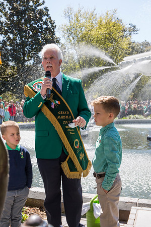 Grand Marshal Michael Kenny and WTOC's 2018 St. Patrick's Day Coloring Contest winner, Mattox Elrod.