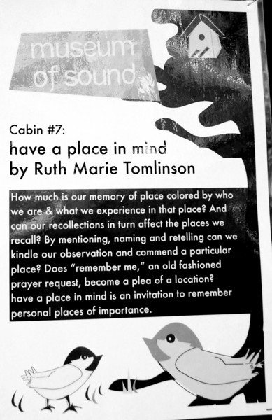 "Cabin #7.  The website for artist Ruth Marie Tomlinson is here: <a href=""http://ruthmarietomlinson.com/"">http://ruthmarietomlinson.com/</a><br /> <br /> People seemed to get quite engaged in the activities at this cabin."