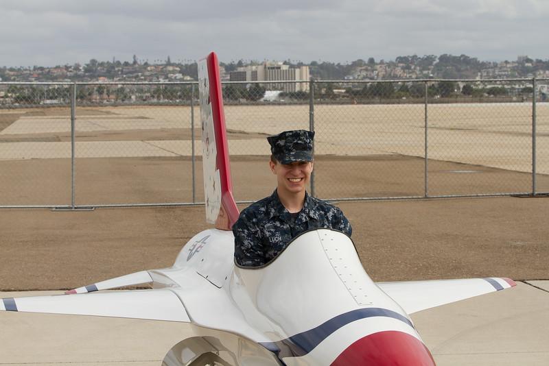 A young Marine, having a little fun.