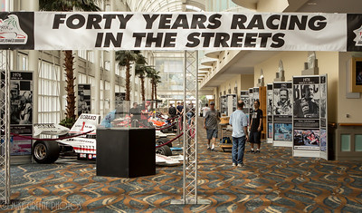 Heritage display in Long Beach Convention Center concourse area, featuring historic F5000, F-1 and Champ/Indy cars