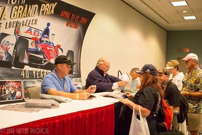 Al Unser Jr, Dan Gurney and Mario Andretti sign autographs, Sunday April 13, 2014, Long Beach Grand Prix