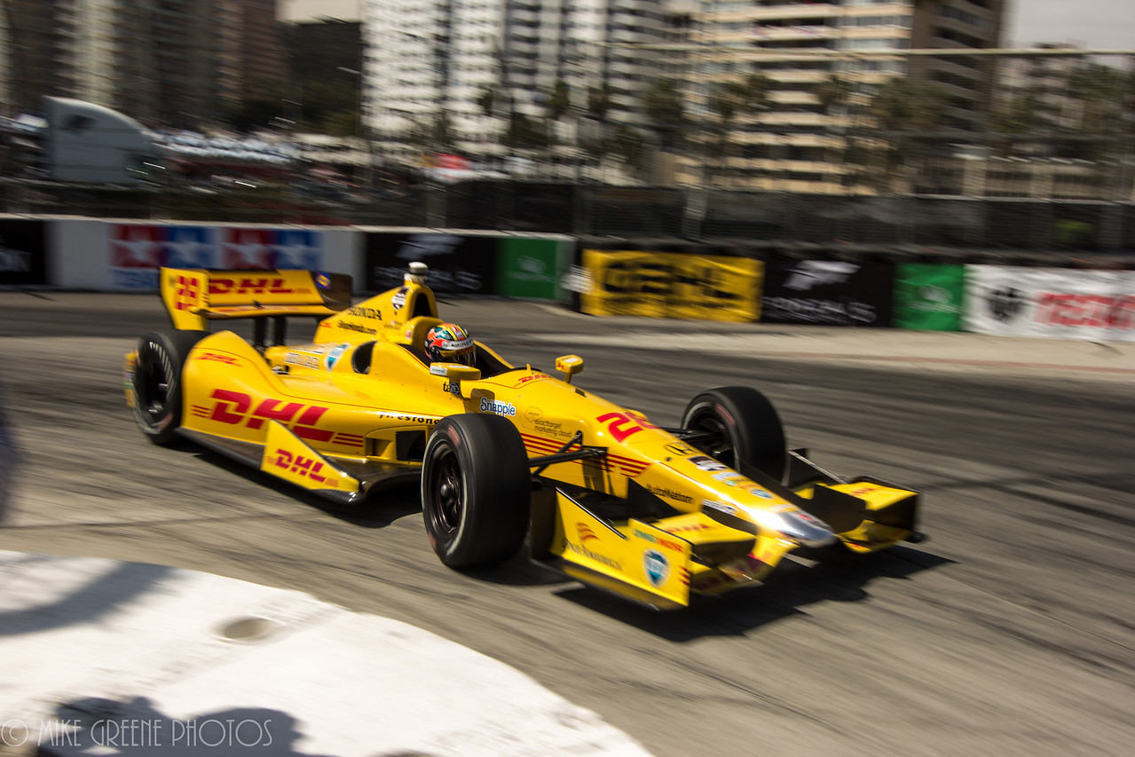 Ryan Hunter-Reay through the first-gear hairpin of turn 11, 2014 Toyota Grand Prix of Long Beach Indycar race