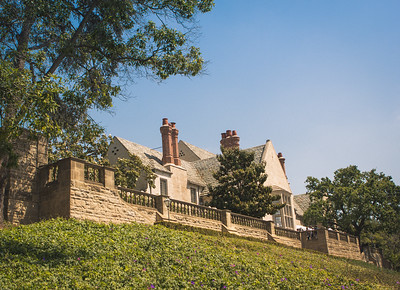 A view of the Doheny Greystone Mansion from the south