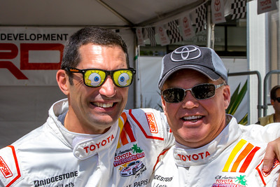 Max Papis and Al Unser Jr prepare for the Toyota Pro/Celebrity Race
