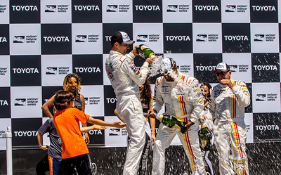 Alfonso Ribeiro, Max Papis and Rod Millen  celebrate, Toyota Pro/Celebrity Race