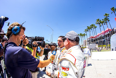 The top finishers talk to the press following the final Toyota Pro Celebrity Race
