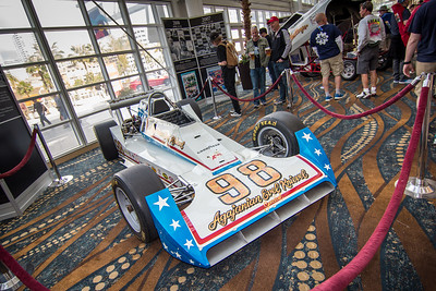 Fans admire the historic race cars in the Long Beach Convention Centerr