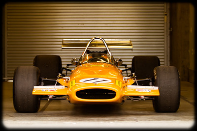 The 1969 McLaren M10A owned by Martin Fogel Jr, in early morning light on the Saturday