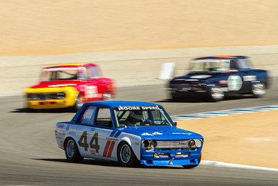 Mark Boen's 1970 Datsun 510 leads through Turn 2 during Sunday morning's practice session.   (Photographer:  Mike Greene)
