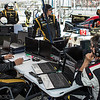Just another day at the office...the Rebellion Racing team readies some of their electronics for the ALMS race at Long Beach