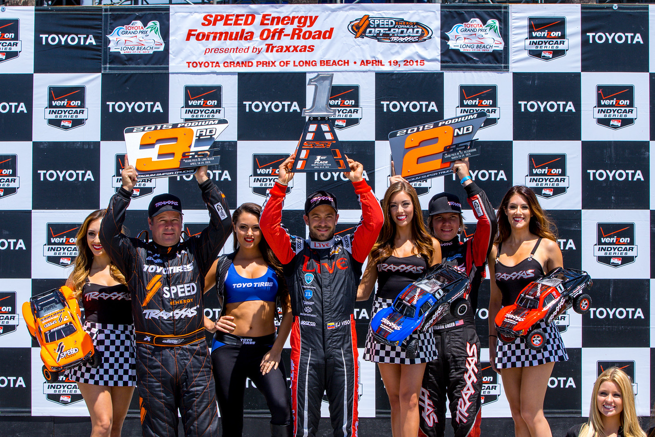 """E.J. Viso celebrates his victory, Speed Energy Trucks race"""