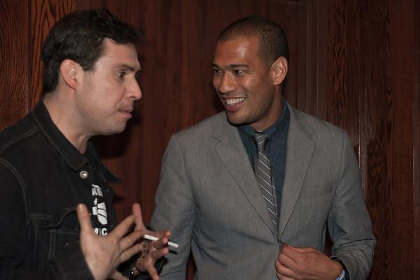 Comic Pablo Francisco with E! News celebrity corresponden Michael Yo