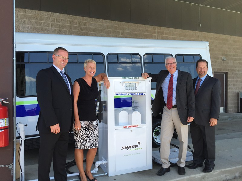 From left to right: Joe Thompson, president of ROUSH CleanTech;  Jennifer Cohan, Delaware Department of Transportation (DelDOT) Secretary; Bob Zola, president of Sharp Energy; John Sisson, Chief Executive Officer of Delaware Transit Corporation.