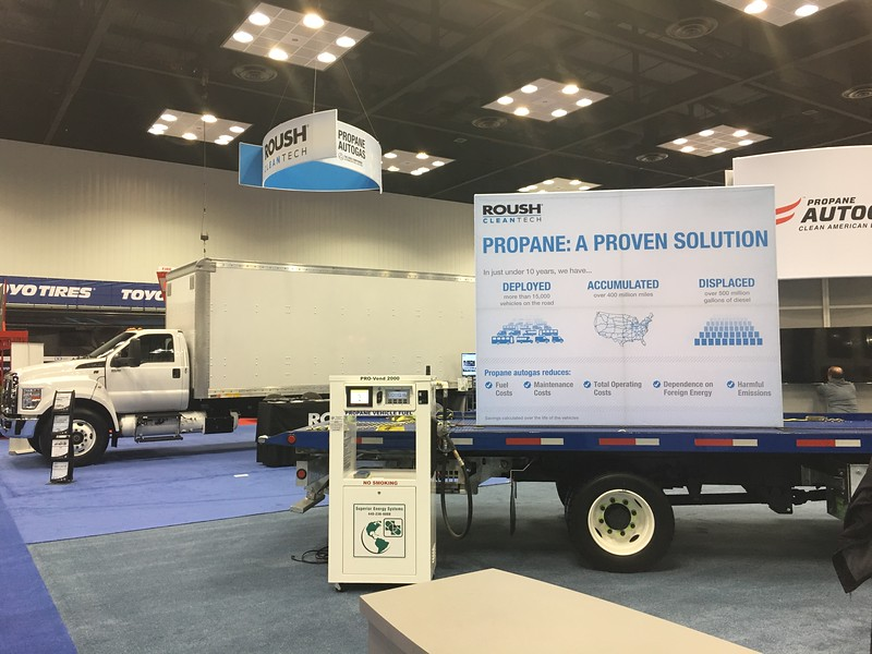 Along with propane autogas-fueled vehicles, PERC displayed a propane fuel dispenser for attendees to demo.