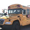 State Representative Roland Gutierrez test drives a clean-operating Blue Bird Vision Propane school bus equipped with ROUSH CleanTech propane fuel system.