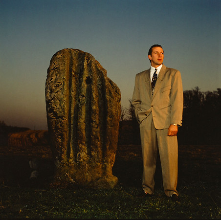 Andy Rhodes with ancient Standing Stone