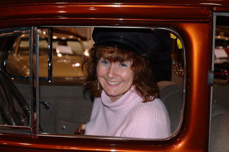 Jean behind the wheel