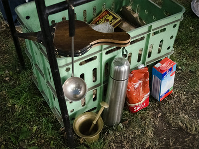 Instruments and ingredients from preparation of Kasmiri tea