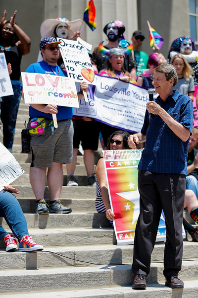 State Representative Jim Wayne was one of many guest speakers that spoke at the Equality Rally outside of Louisville Metro Hall on Sunday.