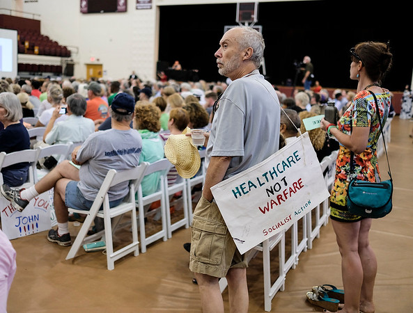 """Bronson Rozier was one of over 700 people who attended the Health Care Town Hall Sunday and who also participated in the Q&A with the Congressman.  Both his wife and daugher are on the medicaid expansion and 6 years ago, medicaid paid for his cancer treatment.  Rozier suggested an emergency march on the Capitol to put pressure on Washington.  """"It's not just statistics, it's real people...As long as health care is under the profit system and not for human needs, we are going to suffer."""""""