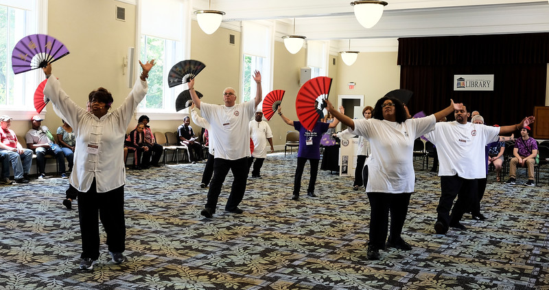 Members of the Nu Chapter Tai Chi Chuan & Qi Gong Health Institute perform for festival attendees.