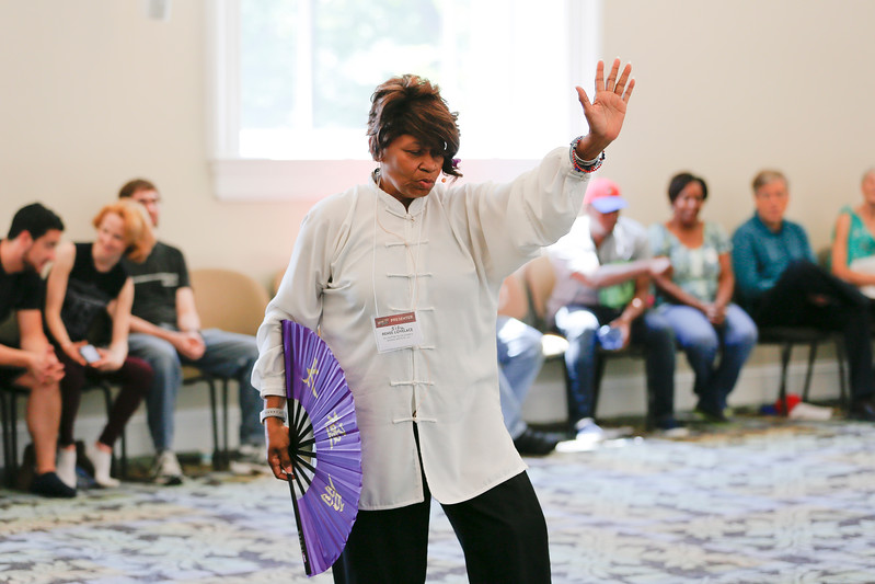 """Sifu Renee Lovelace of the Nu Chapter Tai Chi Chuan & Qi Gong Health Institute was one of the many presenters at the How-To Festival. """"Basically we teach for health but we do have a martial arts side if somebody's interested in that as well.  Right now I work with people that have memory issues, breast cancer, MS, Alzheimer's, balance issues, drug replacements, there's just a multitude of different things that can help you as far as your health goes.  I also work with people that have issues with stress, anxiety, and different other things, they would just have to tell me what their needs are. Our youngest students are 4 years old, and my teacher has students that are 100 and in their 90's.  I teach one lady that's 96 years young.  So we run the spectrum, depending on what your needs are, on teaching from one age group all the way across to the other. """""""
