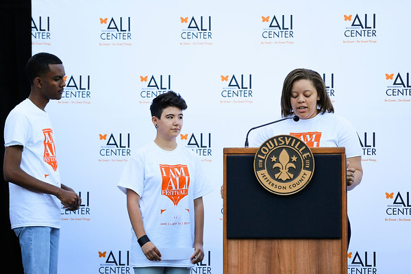 Members of the Ali Center Council of Students speak at the celebration.