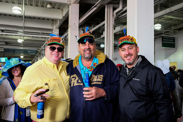 """Big"" Mark Engemann (left), Bill Morelli (center), and ""Little"" Mark Petrovic (right), enjoy the Derby while celebrating Morelli's 50th birthday."