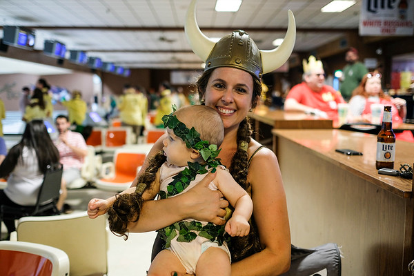 Jessica Knecht and her child Nolan went all out with their costumes for the 16th Annual Lebowski Fest.