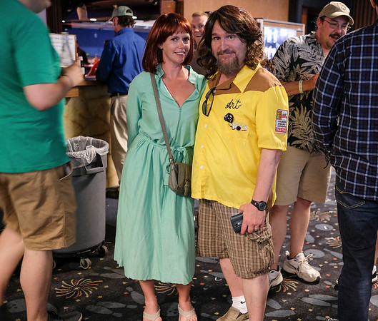 Melissa R. Marshall (left) and Perry Rintye (right) pose for a photo at Lebowski Fest.