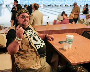 David Coffey takes a break from the lanes at the 16th Annual Lebowski Fest.