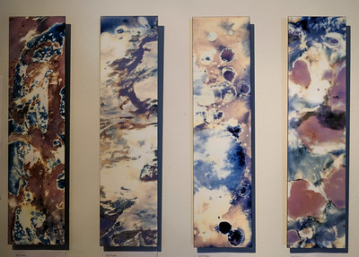 "The work and process of S.N. Parks invokes unintelligibility. ""My process, identified as photography, utilizes painterly sensibilities, mark making, and textural depth—blurring the lines of discipline by resisting categorization, making the work unintelligible from any one disciplinary frame."" The process in which Parks works is called a chemigram, which uses traditional darkroom paper that is covered with different resists such as glues, soaps, food, household cleaners, etc. and is then developed in photographic chemicals. ""In my exploration of this process, I'm also considering the chemical reactions on the surface of the paper, making marks sympathetically, and exploring the unexpected outcome…I relate the uncontrollable outcome and fluidity of the process to the experience of being non-binary, genderqueer, gender fluid, (etc.) as no matter how intimately I know the process or material, there is always an element of the unexpected in the expression. The created image, like coming to awareness of our identity, is ever-changing, evolving."""